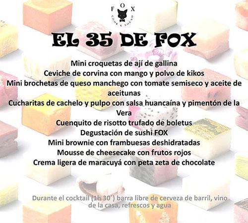 Menu Fox Restaurant